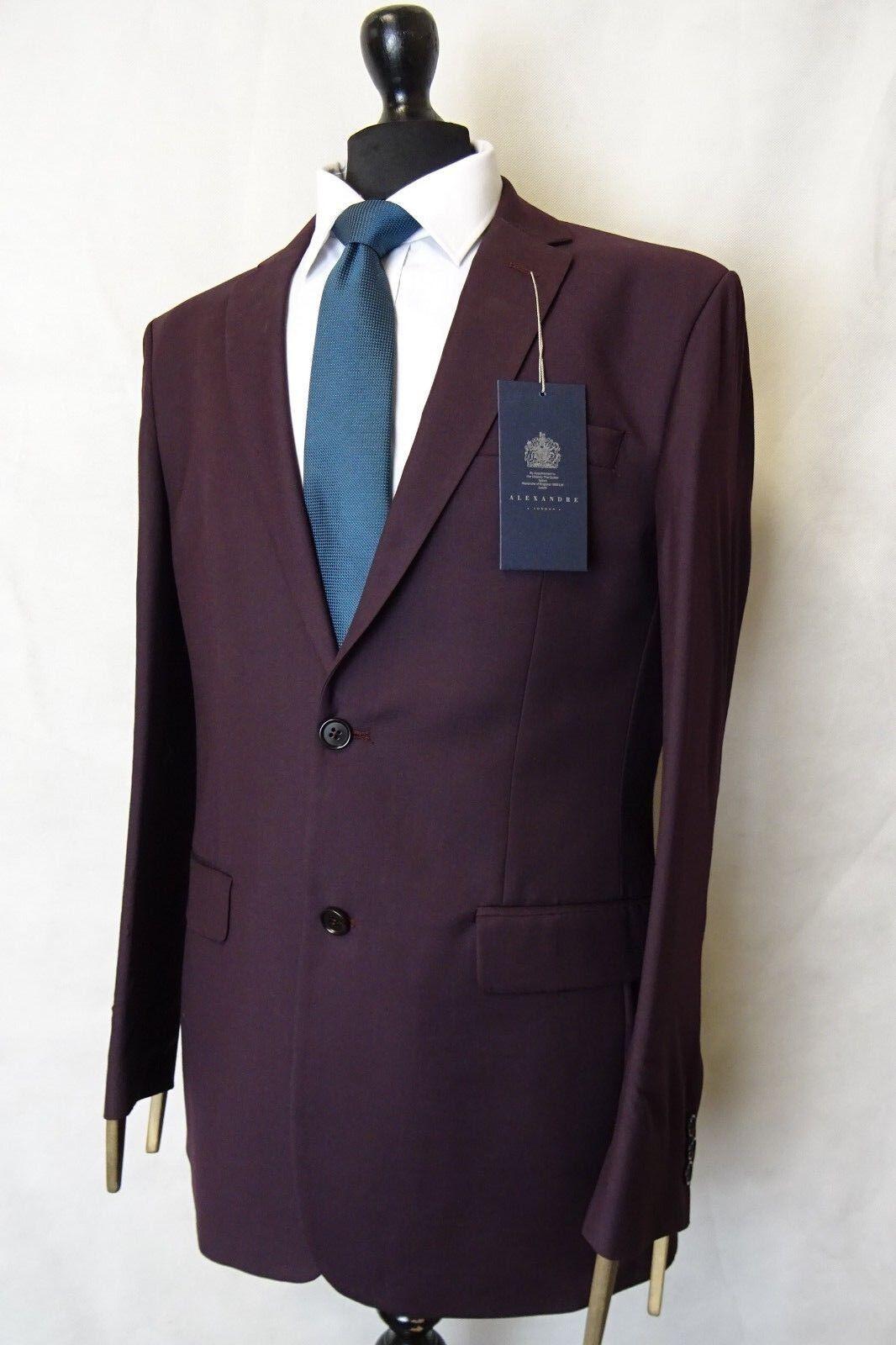 Men's New Alexandre London Burgundy Tailored Fit Suit 40R W32 L31 AA2935
