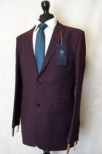 Vereinigt Men's New Alexandre London Burgundy Tailored Fit Suit 46l W38 L34 Aa2936 Herrenmode