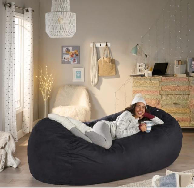 Extra Large Adult Bean Bag Chair 8 Ft Oversized Dorm Lounger Xl Sleeper Black
