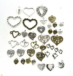 Mixed lot of HEART Shape Charms Pendants (Only, No Necklaces), Various - USED