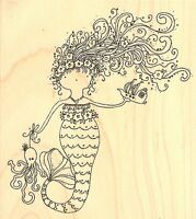 Mermaid Under The Sea Wood Mounted Rubber Stamp Impression Obsession G19206