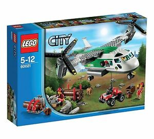 Lego-City-Town-60021-CARGO-HELIPLANE-Dog-Lumberjack-Chainsaw-Quad-Bike-NISB