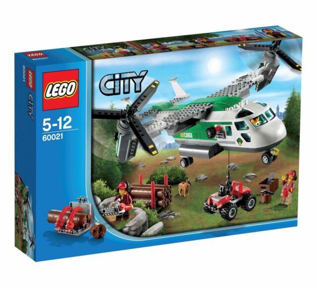 Lego City Town 60021 CARGO HELIPLANE Dog Lumberjack Chainsaw Quad Bike NISB