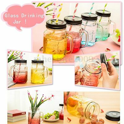 Four Colors Fashional Vintage Mason Glass Drinking Jar 500ML Retro Vintage Gift