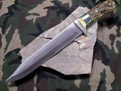 "Schrade Uncle Henry Bowie Hunter Knife 15 1/4"" Fixed Full Tang Delrin Stag 181UH"