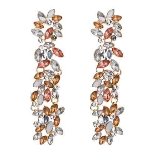 Fashion Bohême Fleur de Cristal Long Boucles D/'oreilles Femmes Dangle Boucles d/'oreilles pendantes bijoux