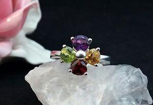 Edelsteinring-Ring-Silber-925-mit-Granat-Amethyst-Peridot-Gr-56-17-8-mm
