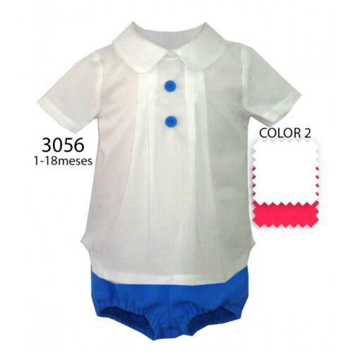 Garçons Officiel espagnol Royal Bleu//Blanc Chemise lin /& court ANGE 2 pcs 0-9 m
