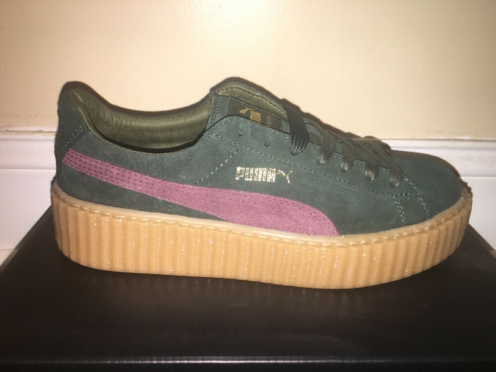 PUMA SUEDE CREEPERS  GREEN BORDEAUX 100% AUTHENTIC TRUSTED SELLER RARE DS FENTY