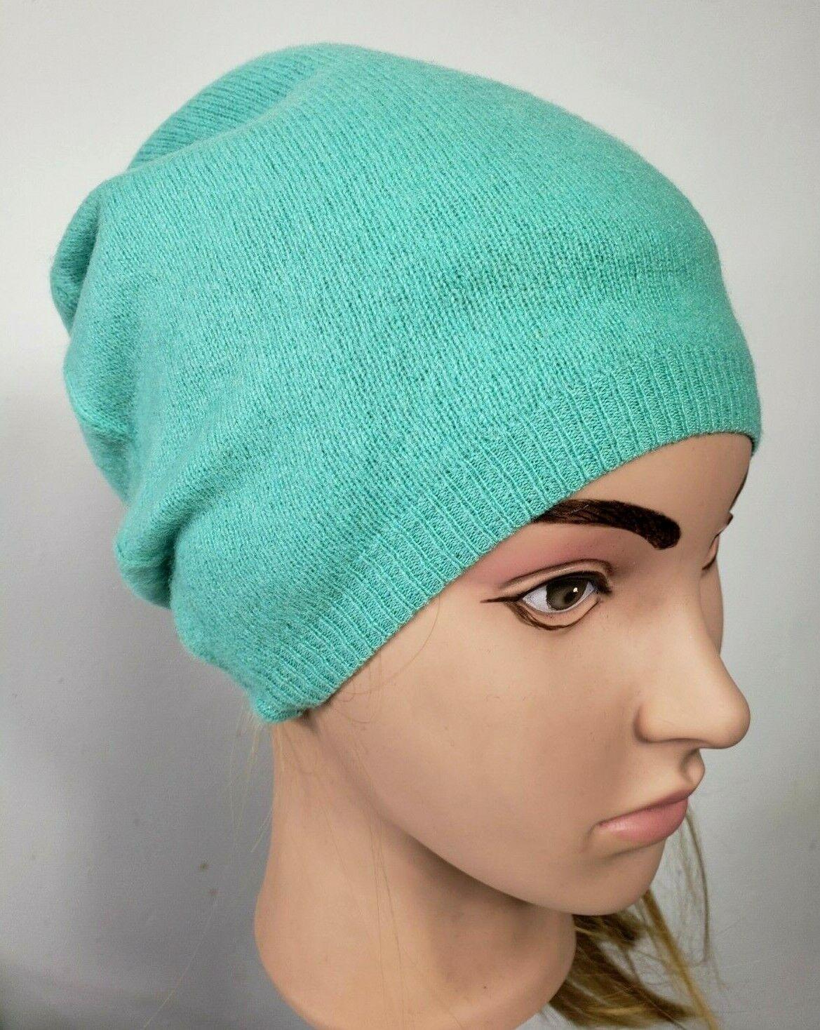 # 100% Pure Cashmere Sombrero Gorro de Lana Hombre Mujer Unisex Hecho a Mano Como Nuevo Azul 256