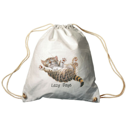 Trend-Bag Turnbeutel Rucksack Katze in Haengematte Lazy Days KA501 weiß