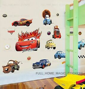 Large disney cars lightning mcqueen removable wall for Disney cars wall mural full wall huge