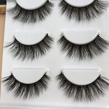 3Pares 3D Natural  Cruz pestañas postizas individuales maquillaje Eyelashes