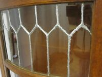 Antique China Curio Cabinet Hutch w Leaded Glass Panel Curved Sides ¼ Sawn Oak