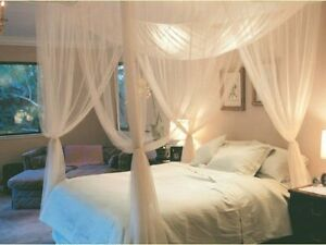 4-Corner-Post-Bed-Canopy-Mosquito-Net-Queen-King-Size-Netting-Bedding-White-OS