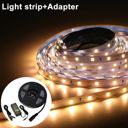 5M 2835 300 LED SMD Strip Light Dimmable Under Cabinet Lighting 12V /& Adapter