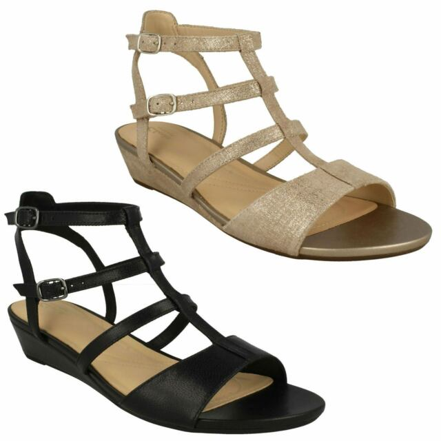 93f8f230947 LADIES CLARKS SUEDE BUCKLE LOW WEDGE HEEL GLADIATOR SANDALS SHOES PARRAM  SPICE
