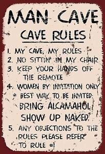 Man-Cave-Rules-My-Panneau-Metallique-Plaque-Voute-Etain-Signer-20-X-30-cm-FA0313