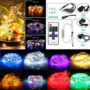 5M-10M-20M-30M-50M-Silver-Copper-Wire-Fairy-String-Lights-Lamp-DC-Remote-Power