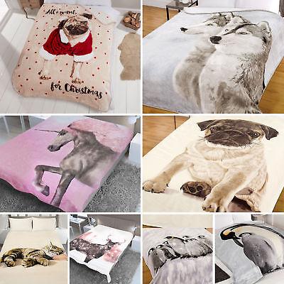 Dreamscene Animal Print Faux Fur Throw Large Christmas Mink Fleece Sofa Blanket
