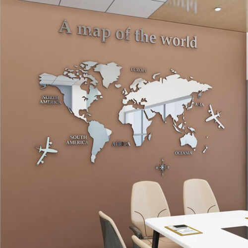 3D Mirror World Map Art Removable Wall Sticker Acrylic Mural Decal Home Decor AE