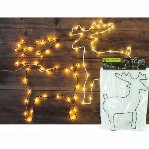 LED alambre personaje Hirsch blanco 40 luces blanco cálido 23x30 cm ventana imagen iluminación