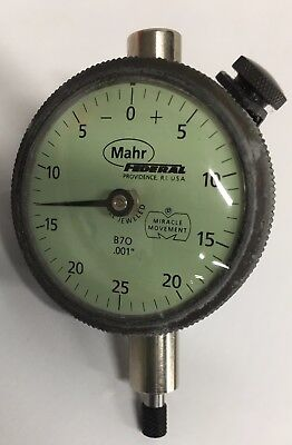 ".0001/"" Graduation 0-.025/"" Range Federal C2I Dial Indicator with Flat Back"