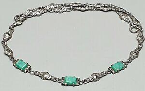 Art-Deco-Silber-Collier-Amazonit-Steine-amp-Markasiten-um-1920-30-800-Silber-A35