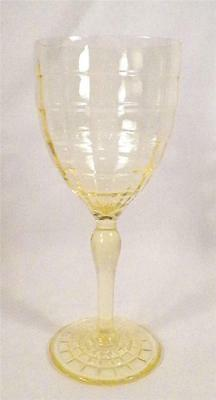 Block Optic Water Goblet Yellow Depression Glass Anchor Hocking 9 oz NICE COND