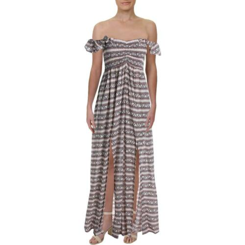 Aqua Womens Smocked Geo Print Ruffle Sleeve Maxi Dress BHFO 7207