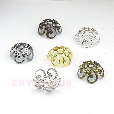 200Pcs Hollow Filigree Bead Caps 10mm Silver/Gold/Bronze/Black etc. R0118