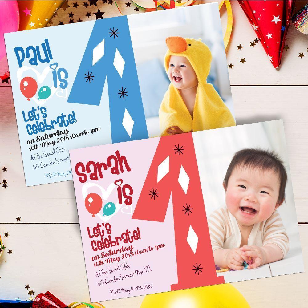Personalised Photo Girl Boy First 1st Birthday Party Invites Inc Envelopes 11450f