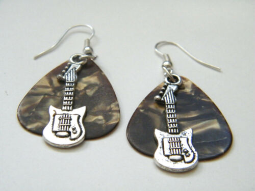 GUITAR PICK EARRINGS BROWN ROCK /& ROLL SILVER MINI BASS SILVER EAR WIRES NEW!