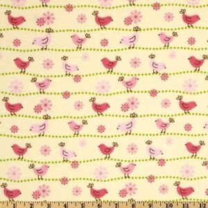Pink Baby Birds Yellow Cotton Flannel