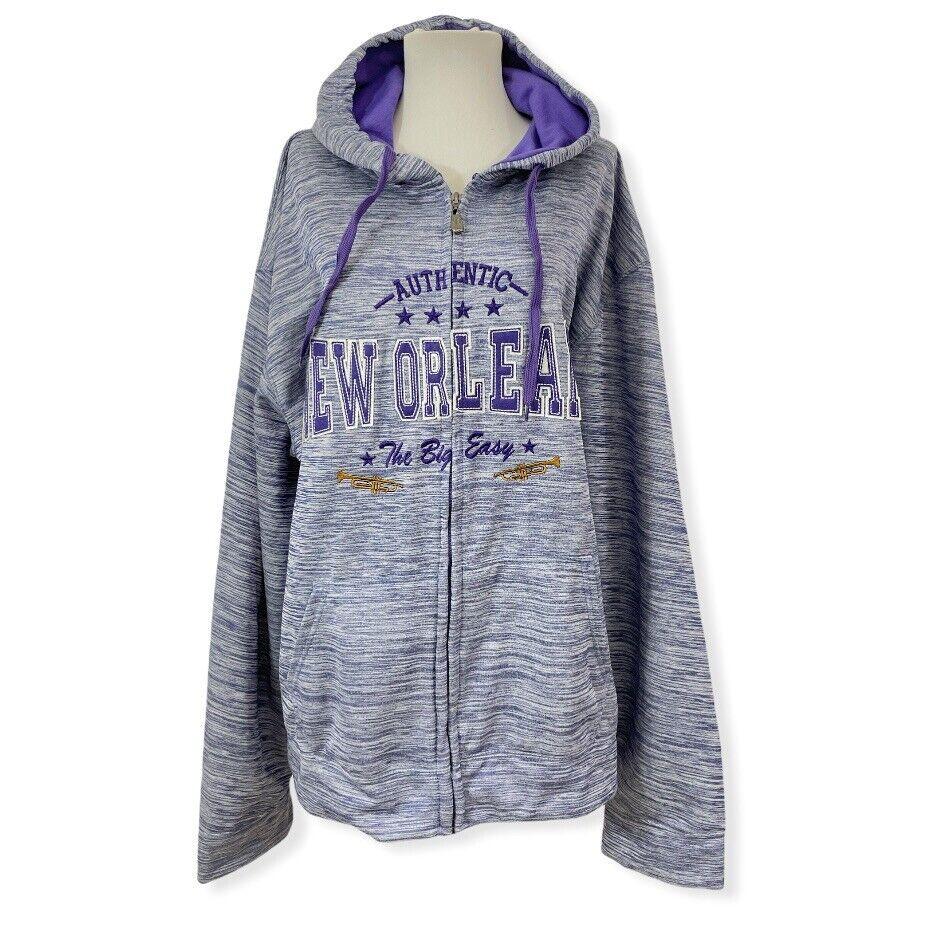 DIMCO Women's XXL 2X Full Zip Hoodie Jacket Purple New Orleans Pockets L/S