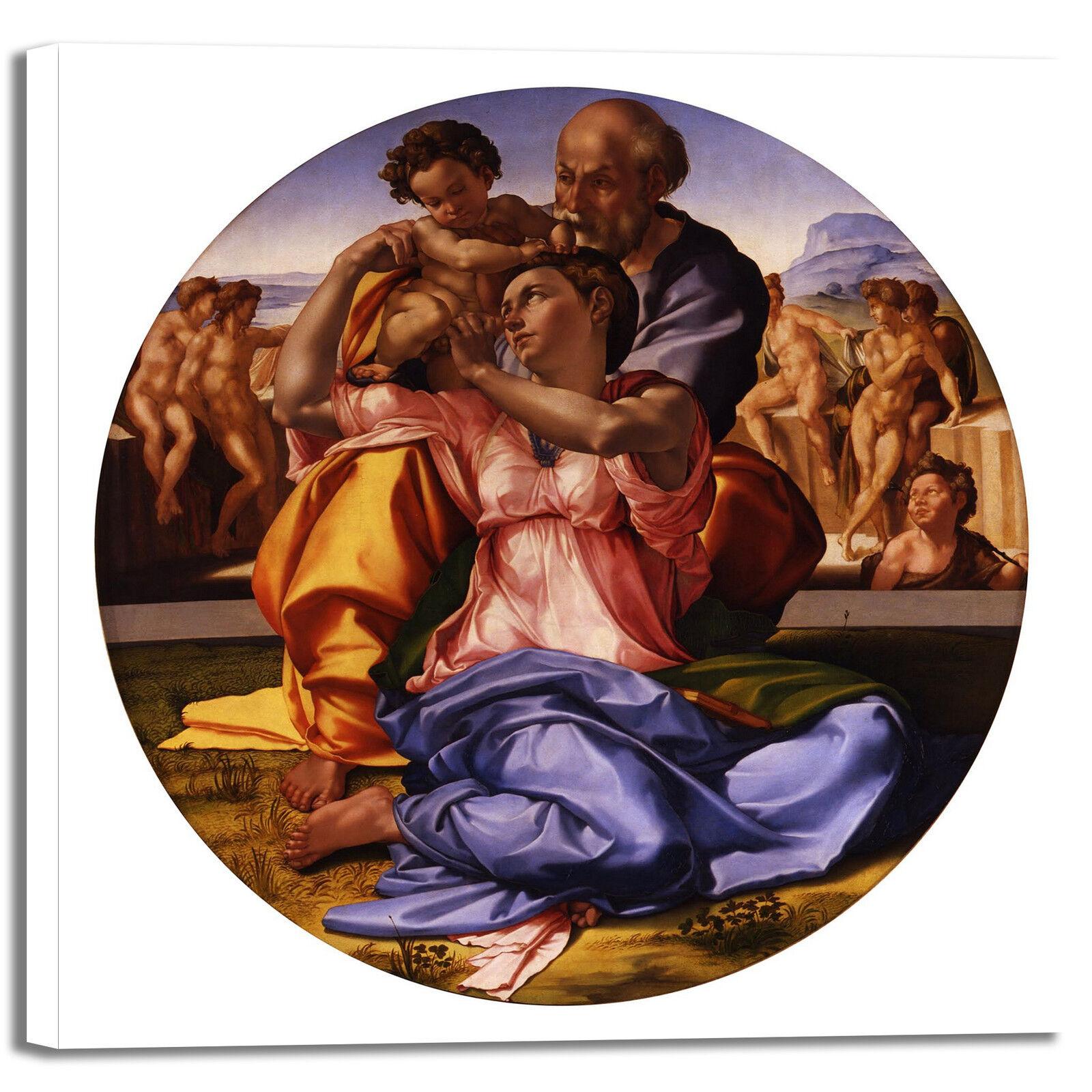 Michelangelo doni tondo design quadro stampa tela dipinto telaio arrossoo casa