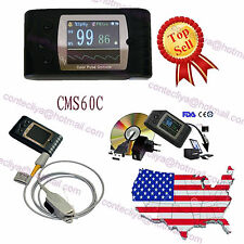 24H FDA CE CMS60C Hand-Held Finger Blood oxygen SPO2 PR monitor+ PC Software,USA