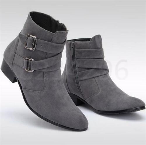 Faux-Wildleder Ritterstiefel High Top Schuhe Herren Spitze schnalle Stiefeletten