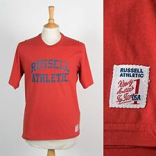 MENS RED RUSSELL ATHLETIC USA VINTAGE T-SHIRT TOP SPORT GYM JOG PREPPY COLLEGE L