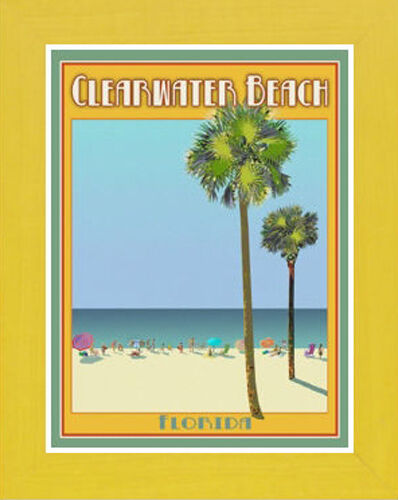 Framed Clearwater FL Vintage Art Deco Travel Poster -by Aurelio Grisanty