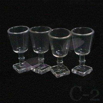 Dollhouse Miniature  1:12 4 pcs Dinner Goblet Cup Wineglass Glass Set C2