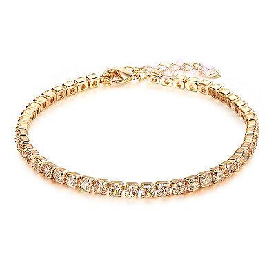 fashion tiny crystal tennis bracelet women wedding jewelry yellow gold GP B603