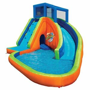 Banzai Sidewinder Falls Inflatable Water Park Kiddie Pool with Slides & Cannons