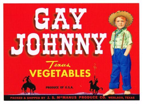 GENUINE CRATE LABEL VINTAGE GAY JOHNNY COWBOY WESLACO TEXAS 50S WESTERN WEAR