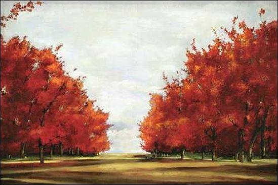 Allison Pearce  rot Glory Keilrahmen-Bild Leinwand Bäume rot Allee Landschaft