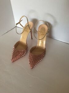promo code a0ad4 17d49 Details about Christian Louboutin Baila Glitter Spike Ankle Strap Pump Size  9.5