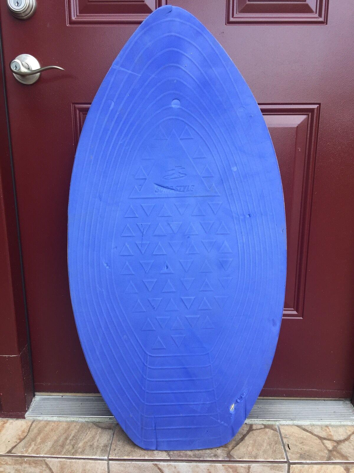 Surf Style Wooden Boogie Skim Board Surf Beach with bluee Foam 40 1 2  x 20 1 2