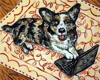 corgi working on a laptop computer  dog art print 11x14 gift artwork