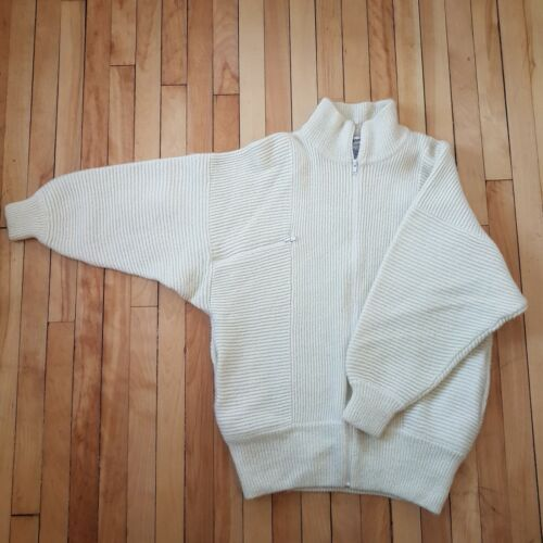 Funnel Ivory Pockets Batwing Blend Vtg Mohair 80s Cardigan Neck Sweater Men Zip nB4wqTZF