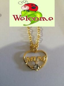 BRAND-NEW-GP-MUM-PENDANT-WITH-NECKLACE-AND-A-CLEAR-RHINESTONE-AUS-SELLER-74W